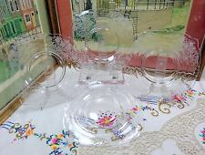 """4 HEISEY SIGNED CRYSTAL TITANIA #456 ETCH 8 3/8"""" SQUARE LUNCHEON PLATES 1933-38"""