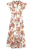 STELLA MORGAN FLORAL WRAP V-NECK ELASTICATED WAIST HIGH LOW FRILLED HEM DRESS