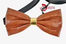 New Mens PVC Faux Leather Brown Gold  Shining Bow Tie Bowties Wedding Party