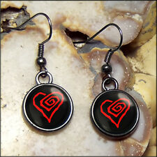 Small Marilyn Manson Twisted Heart Gunmetal Gothic Shock Rock Glass Earrings