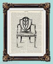 "Victorian chair Antique vintage encyclopaedia dictionary art print 10"" x 8"""