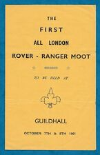 1961 PROGRAMME 1ST ALL LONDON ROVER-RANGER MOOT AT GUILDHALL, LONDON GIRL GUIDES