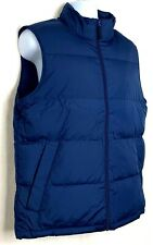 Lands End Mens Down Filled Puffer Vest Indigo Blue Zip Front Outdoors M 38 40