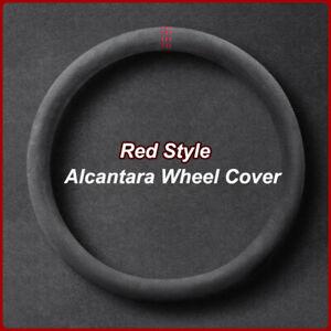 Universal 38cm Black Suede Alcantara Car Steering Wheel Cover Auto Accessories