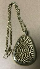 """VINTAGE JEWELRY Gold Pendant Floral Design about 12"""" Celtic Style Theme"""