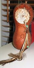 """Native American style Decorated Gourd Dream catcher carved and etched 7"""" x 3"""""""