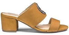 Heavenly Soles Womens Tan Open Toe Slip On Mules With Trim Detail Sandals Uk 4