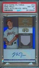 2012 Topps Triple Threads MIKE TROUT Jersey Relic Sepia #50/75 AUTO #10 PSA 8