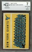 1960 topps #82 NEW YORK GIANTS team card BGS BCCG 7