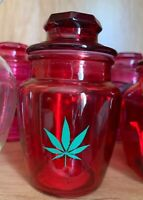 Red Glass Stash Jar Apothecary Prescription Weed Smell Proof- Round With Leaf