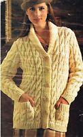 "Ladies Jacket / cardigan knitting pattern in chunky yarn. size 32"" to 42"""