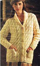"Ladies winter Jacket / cardigan knitting pattern in chunky yarn. size 32"" to 42"""