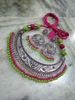 Indian Ethnic Traditional Afghani Silver color Choker Necklace Oxidized Jewelry