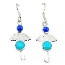925 Silver Blue Sleeping Beauty Turquoise Dangle Earrings Jewelry D2570