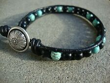 Men's Turquoise and Matte Black 6mm Bead Wrap Leather Bracelet Surfer Wristband