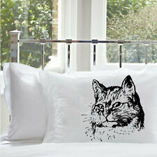 One (1) Black Retro Cat Pillowcase pillow cover case bedding kitten bedroom deco