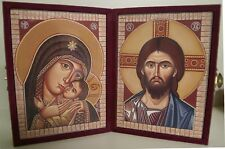 Diptych Icon: Lord & Virgin with Child, In Purple Felt Timber Case, 10x14cm each