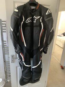 Alpinestars Motegi V2 Red Black Leather one Piece Motorcycle Suit EU Size 54