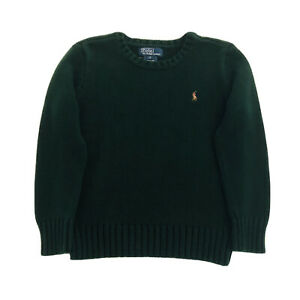 NWT Ralph Lauren Size 5 Boys Green, Brown Pony Crew Neck Pullover Sweater