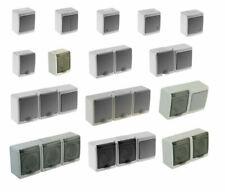 PAWBOL Aufputz Schalter Steckdose 1/2/3/fach Feuchtraum Weiss Grau IP44 16A/250V