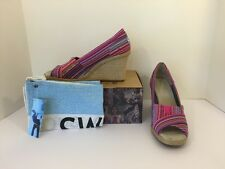 Women's Toms Fushia Cruz Woven Wedge Sandals Pink Multi Color Open Toe Sz 7.5