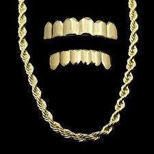 """14k Gold Plated Rope Chain 24"""" x 5 mm Necklace And Top & Bottom Teeth Grillz Set"""