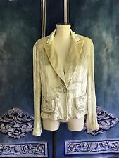 VNTG 90's CK Calvin Klein Frosted Velvet Party Going Out Jacket SZ 8 Model Wear