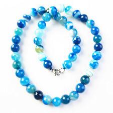 10mm blau Streifen Onyx Achat Kugel Halskette ca. 17.5 Zoll h46487