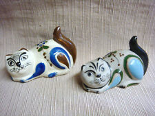 2 Unique Cats - Handcrafted Partially Glazed Stoneware from Mexico