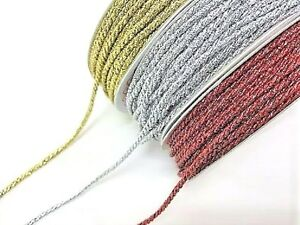 Bertie's Bows Metallic 2mm Cord - prices per 2m or on a 25m roll