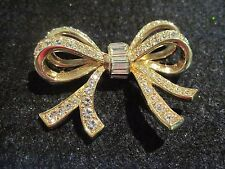 Vintage Daniel Swarovski  Signed DSCO Gold Tone and Rhinestone Large Bow Brooch