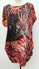Ladies Unbranded Plus Size 18 20 Sequin Animal Print Tunic Top Black Grey Orange