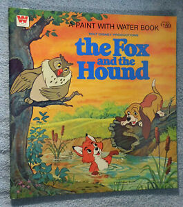 """Disney Vintage Fox and Hound Unused Paint with Water Coloring Book 1981 10x11"""""""