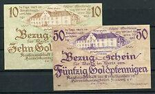 Flensburg 10 + 50 Goldpfennig Kaufmannschaft des Einzelhandels