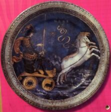 """MARS Collector Plate by St. Martin Email de Limoges Chariot Horses 7.5"""" Diameter"""