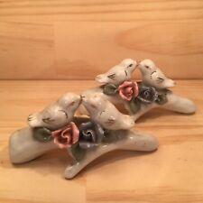 "2x LOVE BIRDS ""White"" Beautiful Ceramic Ornaments Decorative Floral Bird Figures"