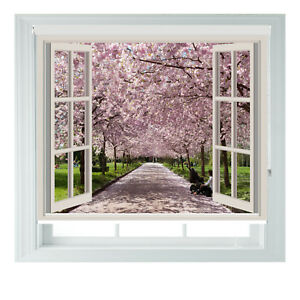 Window Japan Blossom Forest Printed Photo Blackout Roller Blinds Made To Measure