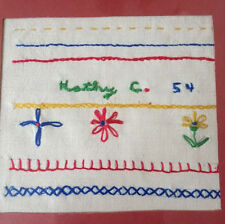 Vintage 1954 Mid Century Handmade Childs Colorful First Embroidery Sampler