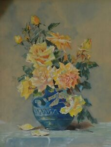 Original French floral still life water colour roses Art Deco vase signed Maire