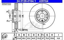 ATE Juego de 2 discos freno 314mm ventilado para OPEL VECTRA SAAB 9-3