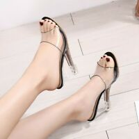 Women Clear Transparent Open toe Mid Wedge Heel Slippers Shoes Party Sandals US