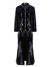 Women Sexy Lingerie PVC Leather Wetlook Bodysuit Cool Coat Club Wear Black/Red