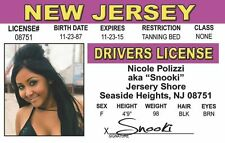 Jersey Shore Nicole Polizzi SNOOKI Seaside Heights NJ id card Drivers License