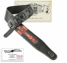 Walker & Williams CVG-23 Black & Red Leather Christian Guitar Strap Tooled Cross