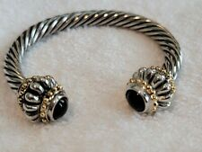 GIVENCHY Unsigned Black Glass Cabochon Silver Gold Tone Rope Cuff Bracelet
