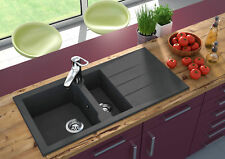 Lavabo Fregadero de granito Compuesto Cocina 100 x 50 CM NEGRO respekta