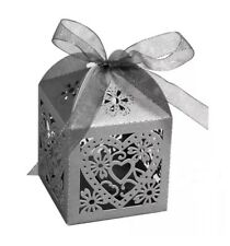 Love Heart Favor Ribbon Gift Boxes Candy Box Wedding Party Decor 100 PACK- Gray