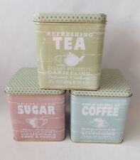 Sunny Days storage tins set, tea, coffee, sugar. Martin Wiscombe