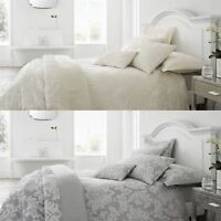 Luxury Jacquard Floral Damask Duvet Cover Bedding Cushions Quilted Throw Shams