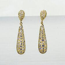 18K Yellow Gold Filled Clear CZ Women Fashion Jewelry Stud Dangle Earring E3771